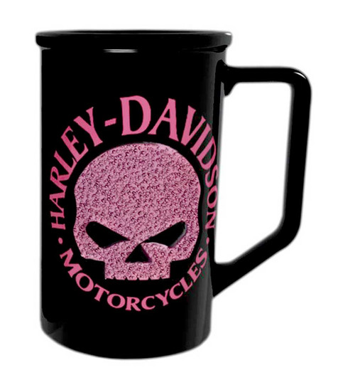 Harley-Davidson® Beaded Pink Willie G. Skull Logo Coffee Mug Black HD-HDP-1397