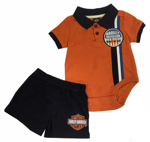 Harley-Davidson® Baby Boys' Interlock Short Top Set, White/Black/Orange. 2061573 - A