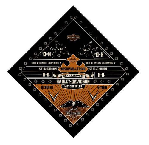 Harley-Davidson® 24 X 24 Conquest Eagle Bandana Black BA121764