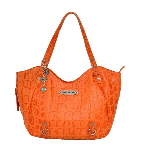 Harley Davidson Womens Orange Hammered Croco Shopper Bag Purse HC7910L-ORG