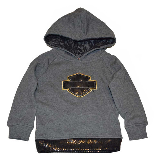Harley-Davidson® Big Girls' Hooded Sweatshirt, Sequined B&S Pullover 4341572 - C