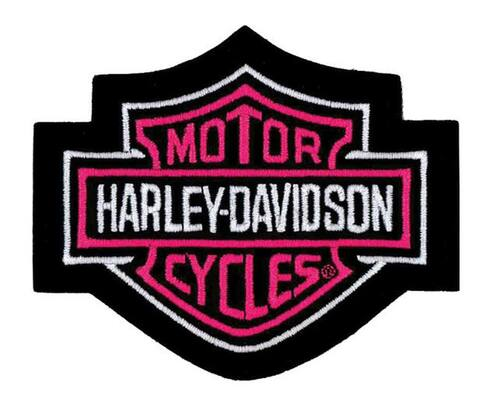 Harley-Davidson® Bar & Shield Pink Small Patch, 4'' W x 3-1/2'' H EM302452