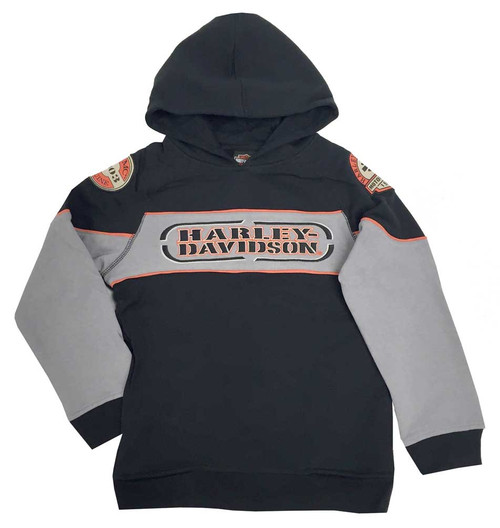 Harley-Davidson® Big Boys' Embroidered Fleece Pullover Hoodie, Black 6591736