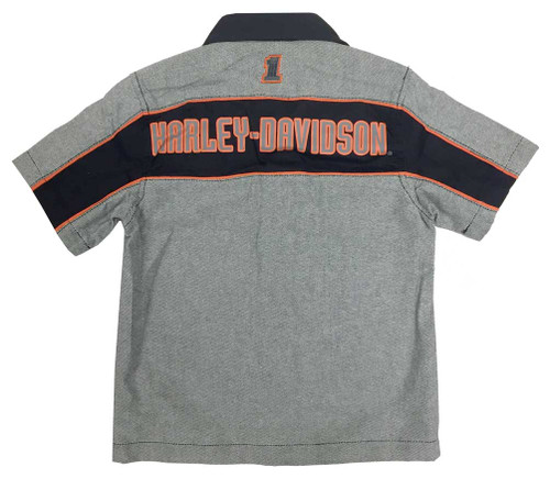 Harley-Davidson® Big Boys' Embroidered Woven Button Shop Shirt, Gray 1091728 - A