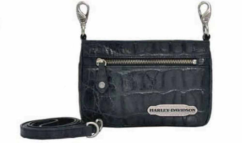 Harley Davidson Womens Black Hammered Hip Bag Purse HC7988L-BLK