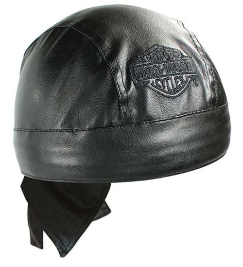 Harley-Davidson® Bar & Shield Black Faux Leather Head Wrap HW30230