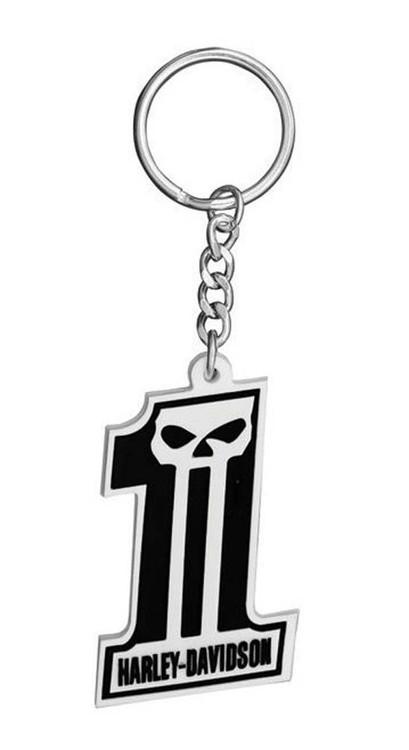 Harley-Davidson® #1 Skull Black & White Rubber Keychain KY718