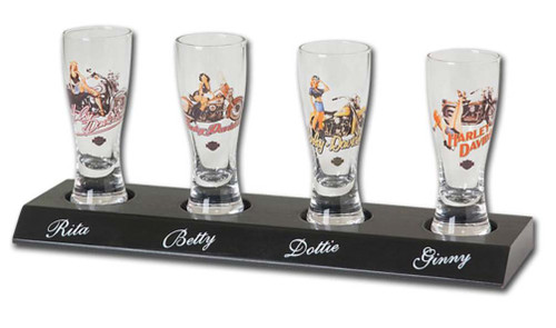 Harley-Davidson® American Beauty Mini Pilsner Set, 4 With Display Board HDL-18717