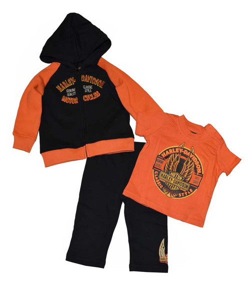 Harley-Davidson® Baby Boys' 3-Piece Pant Set, Newborn Bar & Shield Winged 3352362 - C