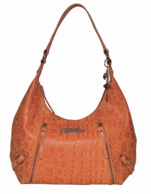 Harley Davidson Womens Orange Hammered Croco Hobo Bag Purse HC7929L-ORG