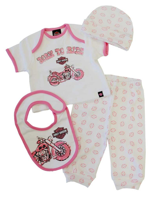 Harley-Davidson® Baby Girls' 4 Piece Boxed Gift Set, Top, Pant, Hat, Bib 0302474 - A