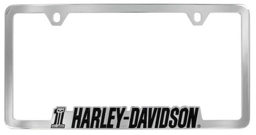 Harley-Davidson® #1 Skull H-D Script License Plate Frame Chrome HDLFC233