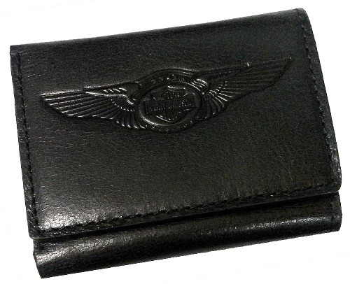 Harley-Davidson® 110th Anniversary Tri-Fold Wallet Black Leather AM1159L-Black