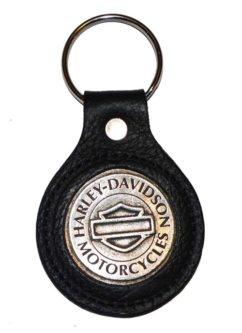 Harley-Davidson® Bar & Shield Black Leather Medallion Key Ring K78H