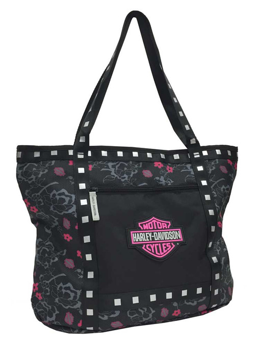 Harley-Davidson® Bar & Shield Flowered Tote Bag, Black 7130519