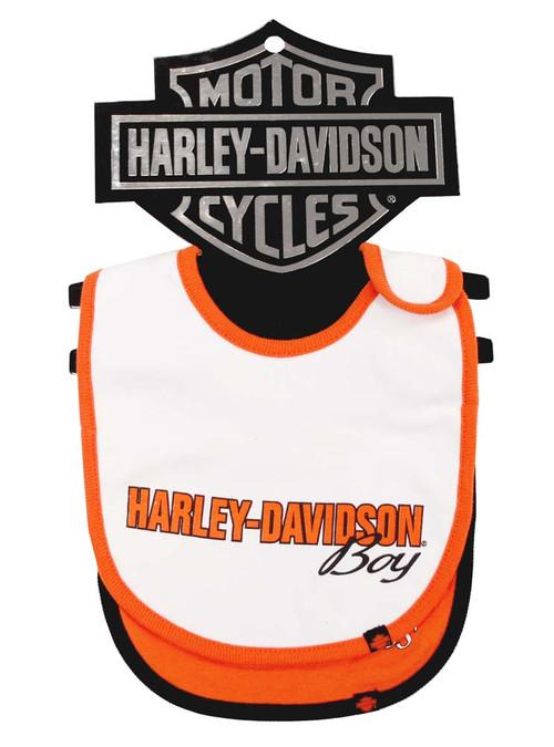 Harley-Davidson® Baby Boys' Cotton Bib Set, Orange & White 2-Pack S9LBL58HD - A