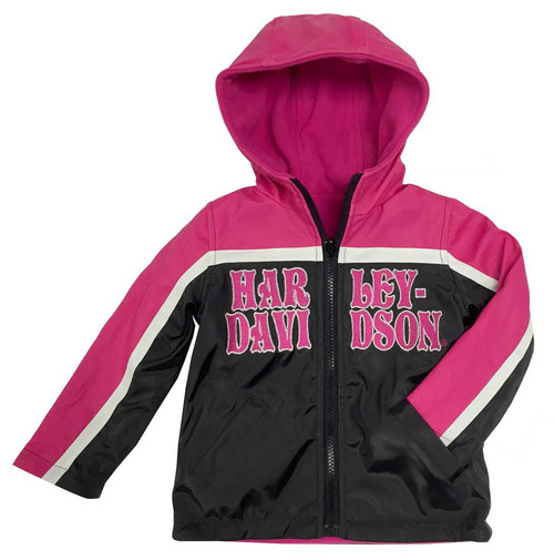 Harley-Davidson® Big Girls' Embroidered Reversible Fleece Jacket, Pink 6044551 - D