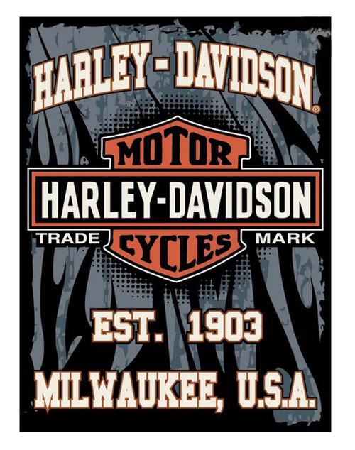 Harley-Davidson® 60 x 80 1903 Milwaukee Bar & Shield Raschel Blanket NW168596