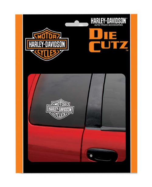 Harley-Davidson® Bar & Shield White Die Cutz Window Decal, 4 x 5.1 Inch CG3614