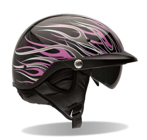 BELL Pit Boss Ultra-Light Motorcycle Helmet Sun Shade Black, Flames Pink 7001 - A
