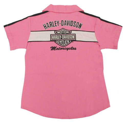 Harley-Davidson® Big Girls' Pink Cotton Button Twill Pit Crew Shirt 0141166 - A