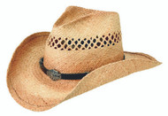 Harley-Davidson® Men's Vented Soft Rafia Straw Cowboy Hat HD-715 - A