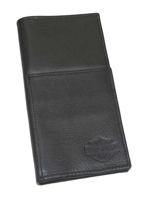 Harley-Davidson® Bar & Shield Travel Wallet Black Leather, 8'' x 4'' HD832 - A