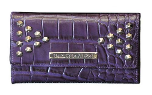 Harley Davidson Women's Croco Studded Clutch Wallet, Violet OC4437L-Violet - A