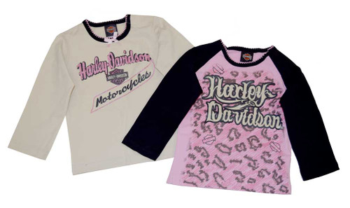 Harley-Davidson® Baby Girls' Tee Set, 2 Piece Long Sleeve Shirt Set 3212232 - C