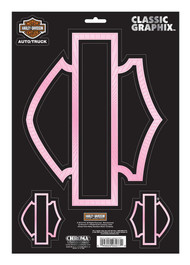 Harley-Davidson® Bar & Shield Pink Silhouette Graphix Decal, 9 x 13 Inch CG3277