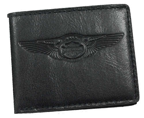 Harley-Davidson® 110th Anniversary Classic Billfold Black Leather AM1162L-Black
