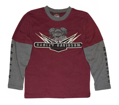 Harley-Davidson® Big Boys' Shirt, V-Twin Jersey Doubler LS Tee 4391574 - A