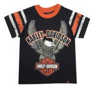 Harley-Davidson® Little Boys' Up-Wing Eagle Raglan Jersey Tee, Black 1070565