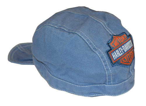 Harley-Davidson® Baby Boys' Do-Rag, Bar & Shield Denim Head Wrap, Blue 1350322 - A