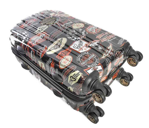 Harley-Davidson® 21 Inch Vintage Carry-On Spinner Wheels Luggage, Black 99922-VIN - A