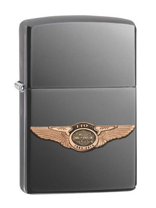 Harley-Davidson® 110th Anniversary 3D Wings Logo Black Ice Zippo Lighter 28501