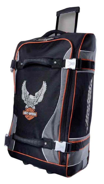 Harley-Davidson® 29 Inch Luggage, Up-Wing Eagle Bar & Shield, Silver/Black 99329 - C