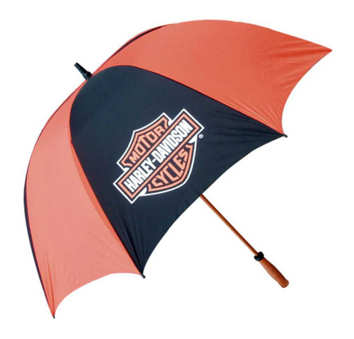 Harley-Davidson® Bar & Shield Golf Umbrella, Black & Orange, 62 Inch. UMB302644