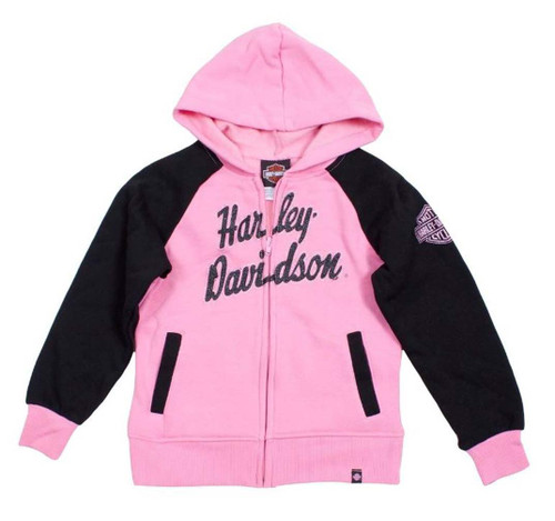 Harley-Davidson® Big Girls' H-D Fleece Full Zip Hooded Sweatshirt Pink 0341588