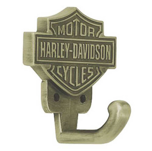 Harley-Davidson® Bar & Shield Hook, Antique Brass HDL-10106