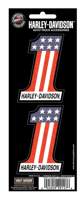 Harley-Davidson® #1 Red White Blue 2-Piece Holographic Decals, 3 x 2 In.CG99117