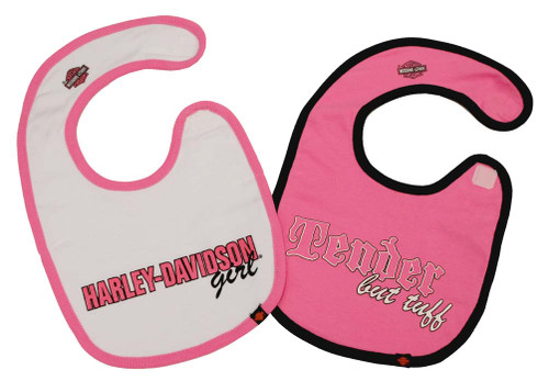 Harley-Davidson® Baby Girls' Cotton Bib Set, Pink & White 2-Pack S9LGL58HD