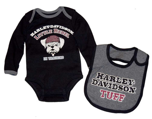 Harley-Davidson® Baby Boys' Creeper & Bib Set, Little Rebel Gift Set 4362396