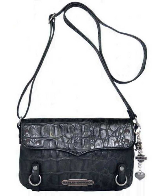 Harley Davidson Womens Black Hammered Croco Crossbody Bag Purse HC7963L-BLK