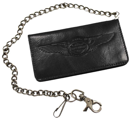 Harley-Davidson® 110th Anniversary Bi-fold Wallet Black Leather AM1144L-Black - A