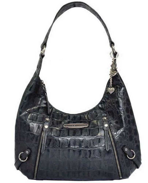 Harley Davidson Womens Black Hammered Croco Hobo Bag Purse HC7929L-BLK