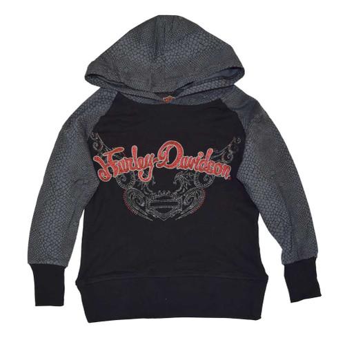 Harley-Davidson® Big Girls' Pullover Hoodie, HD Reptile Print, Black 4241392