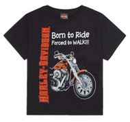 Harley-Davidson® Little Boys' Born to Ride, Forced to Walk Tee Black 0174132