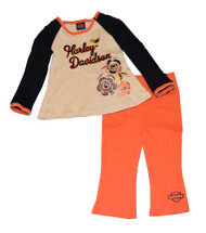 Harley-Davidson® Little Girls' Pant Set, 2-Piece Set White & Orange 3322378