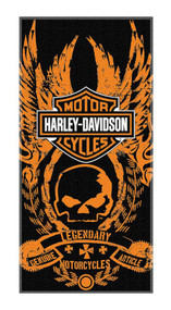 Harley-Davidson® Bad To The Bone Skull Beach Towel, Black & Orange NW047198
